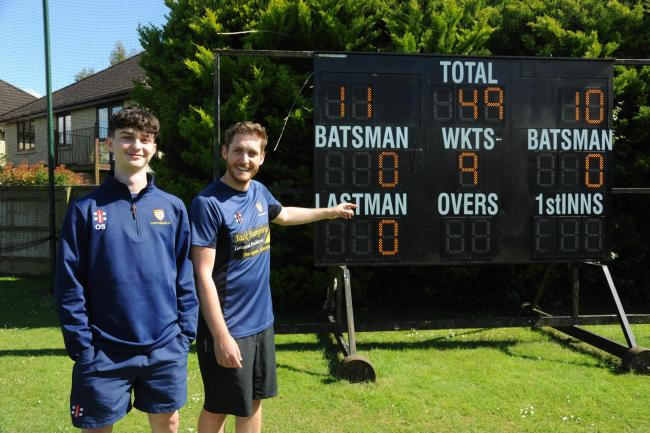 Some Chippenham players show off their winning scoreboard after Saturday's big WEPL Premier Two Glos/Wilts victory over Trowbridge			          PICTURE: TREVOR PORTER