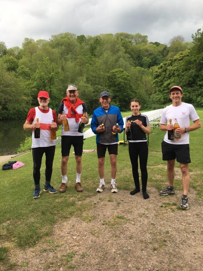 L-R Robert O'Farrell, Chris Cox, Charles O'Neill (Coxswain) Amelia Proudman, Mike Frost of the rowing club.