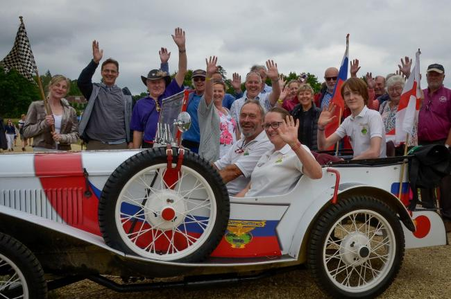Christopher Blakey gets a rousing send off from Austin Seven enthusiasts at Beaulieu