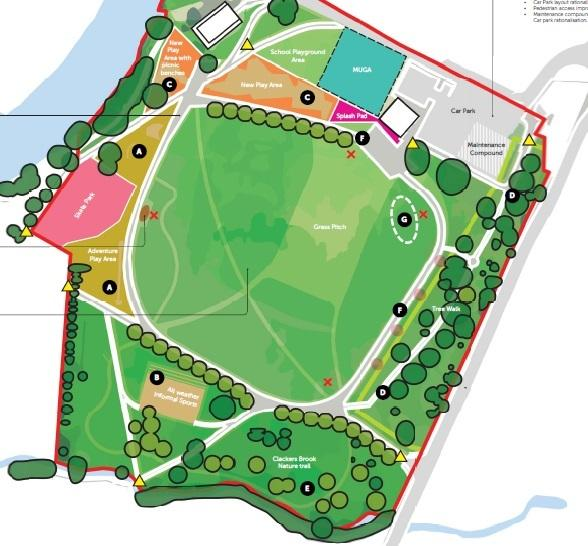 The master plan for the re-design of King George V playing field showing the sensory garden at the bottom