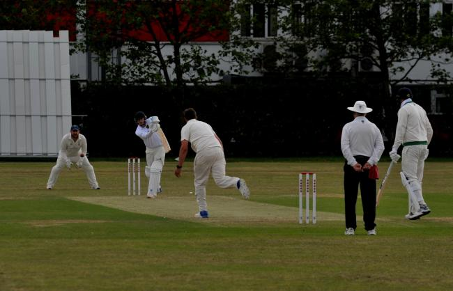 Warminster at the crease during their WEPL Wiltshire defeat at Swindon on Saturday		           PICTURE: Dave Cox