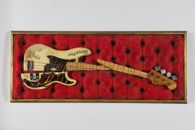 Paul Simonon's broken bass guitar