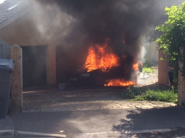 Couple's Audi is destroyed in fire just as they were moving into their new home