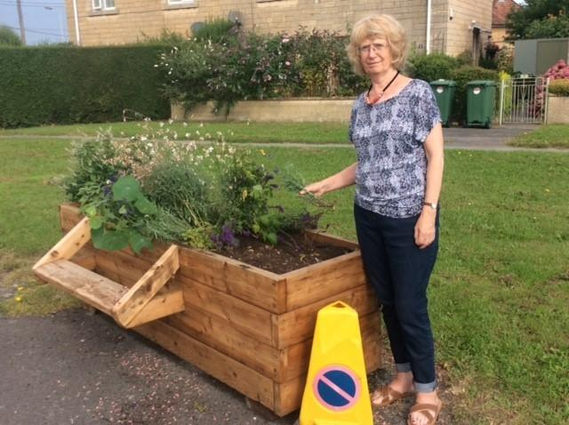 Sheila Davies with one of the vandalised planters on the end of St Laurence Road at Bradford on Avon                          Photo: John Baker