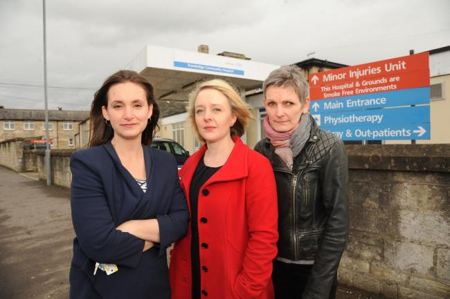 Mums launch campaign to save Maternity Unit. Theo White, Gemma Morgan and Lesley Lay who plan a petition in a bid to save the Trowbridge Maternity Unit. Pics Trevor Porter 58307 1.