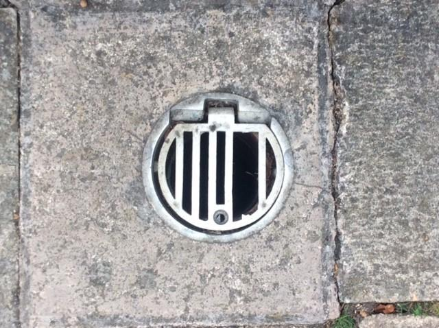 The drain  in Westbury Gardens where the toddler's foot got stuck