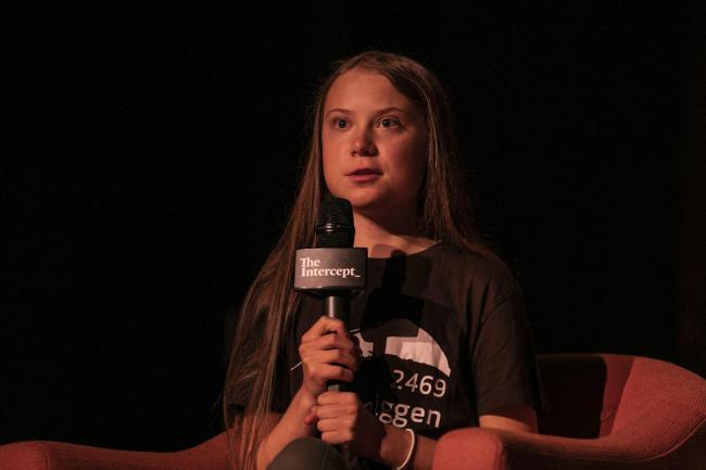 Greta Thunberg speaks at the Society for Ethical Culture, Monday, Sept. 9, 2019 in New York. The Swedish environmental activist is scheduled to speak at the United Nations Climate Action Summit on Sept. 23. (AP Photo/Jeenah Moon).