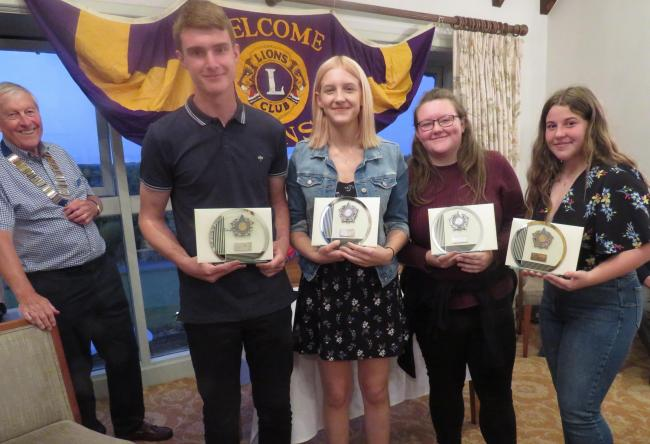 Bradford on Avon Lion's Club president Brian Hersee with Joseph Pearce, Izzy Geddes, Helen Morrison and Megan Longley