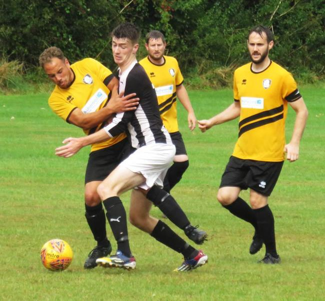 Action from the 3-2 win for Lion & Fiddle (yellow) over Faded in the AM Print & Copy-sponsored Knockout Cup in the Chippenham & District Sunday League. PICTURE: CADER ESOOF