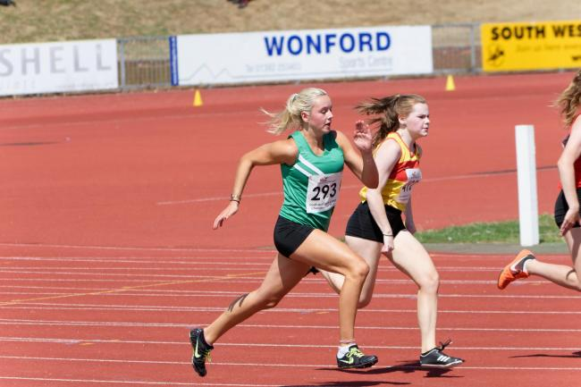 Charlotte Longden in action on the athletics track
