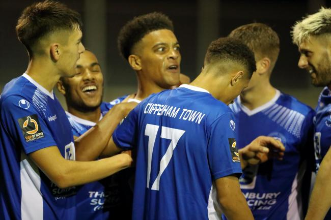 The Chippenham Town players celebrate Nathaniel Jarvis' late winner against Cirencester Town. PICTURE: RICHARD CHAPPELL