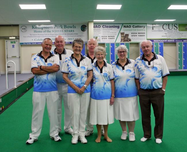 The Clarrie Dunbar team who finished second in Fantastic Fives final: (from left) Graham Cox, John Arnold, Jo Dunford, Fred Pope, Joan Windel,Teresa King and captain Keith Windel