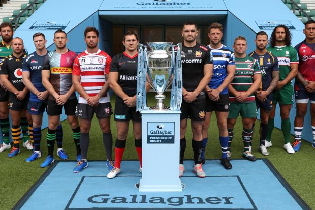 From left to right, Northampton Saints' Tom Wood, Wasps' Dan Robson, Sale Sharks' Chris Ashton, Harlequins' Mike Brown, Gloucester Rugby's Danny Ciprianni, Saracens' Alex Goode, Exeter Chiefs' Don Armand, Bath Rugby's Rhys