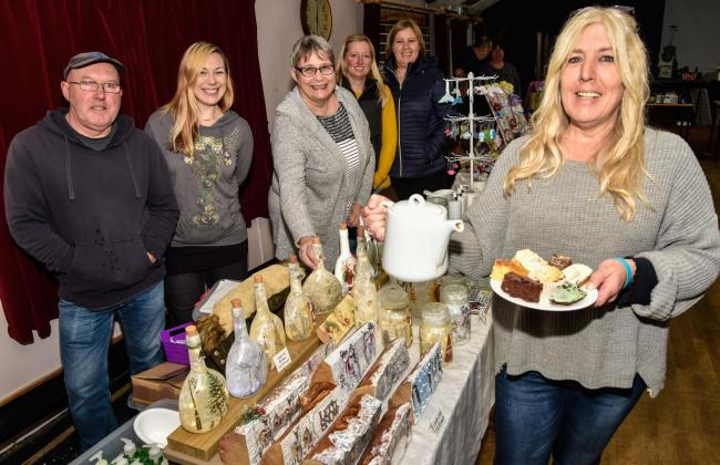 Friends of Larkrise School, led by Shirley Ramplin (right) and daughter Kayleigh Ramplin (2nd left)  held a Christmas sale  at the Westwood Social Club on Saturday. Photo by www.gphillipsphotography.com GP1807.