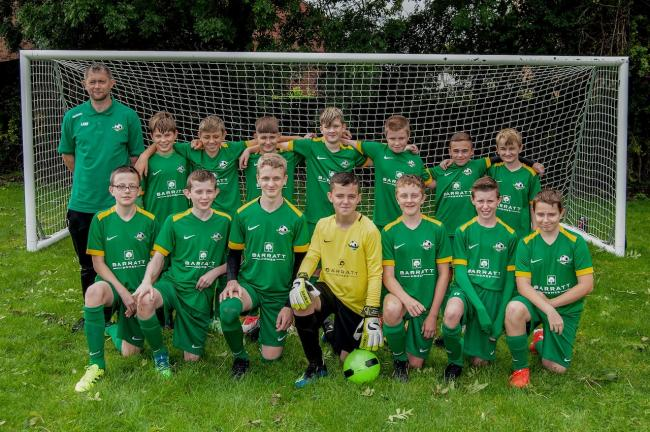 The Westbury Youth FC team in their new Barratt Homes kit