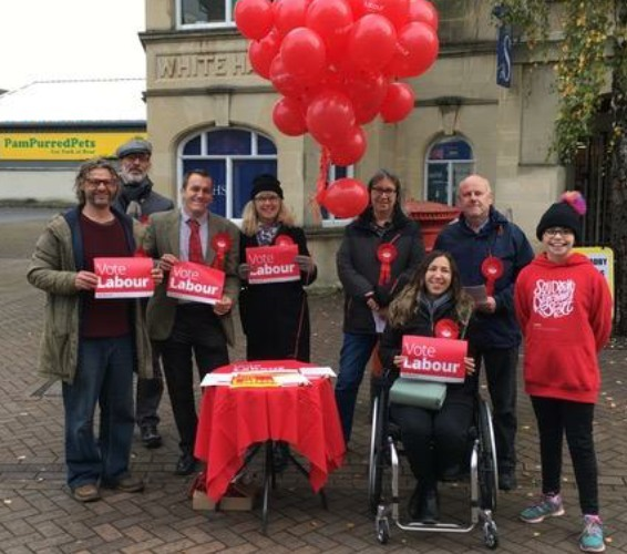 South West Wiltshire Labour Party candidate campaigns in Trowbridge