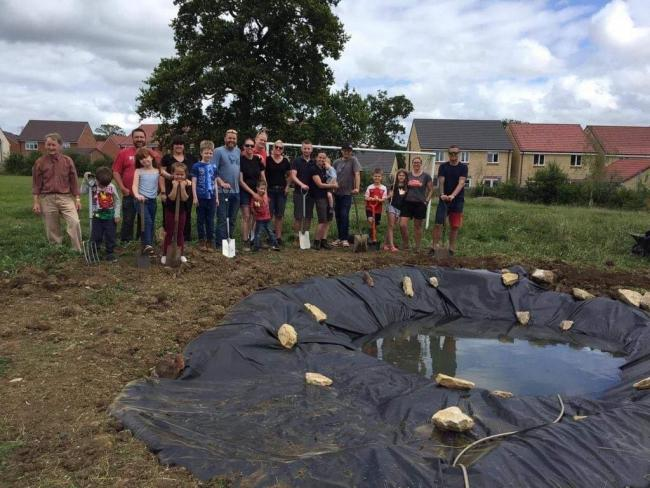 The nature pond which has been installed at Castle Mead Primary School