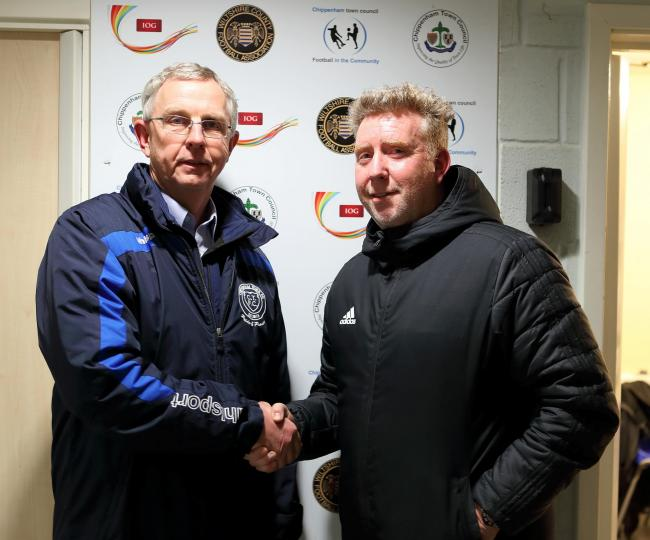 New Chippenham Town manager Michael Cook with club chairman Neil Blackmore. PHOTO: Richard Chappell.