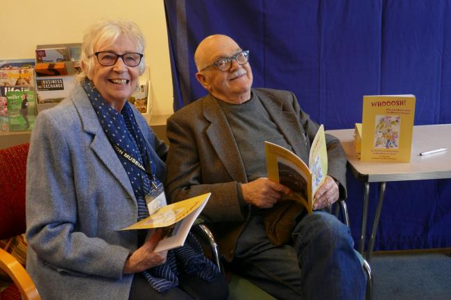 Gill Winfield and Mike Dickinson at the Whooosh book launch in Bradford on Avon Museum