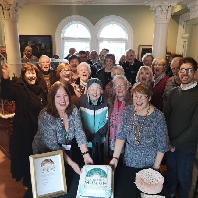 Cllr Teresa Hutton joins staff, volunteers and friends at Chippenham Town Museum to ceolebrate the Arts England accreditation award