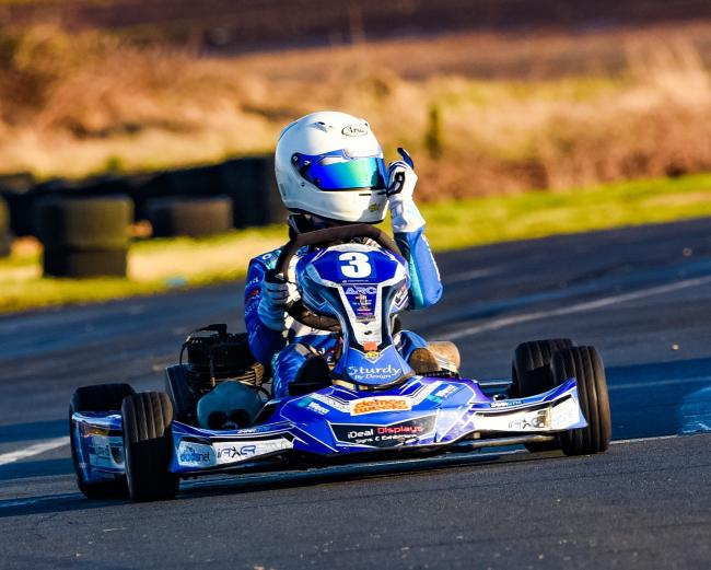 Louis Harvey won the opening race of the 2020 Rissington Kart Club Championship - a title he won last season