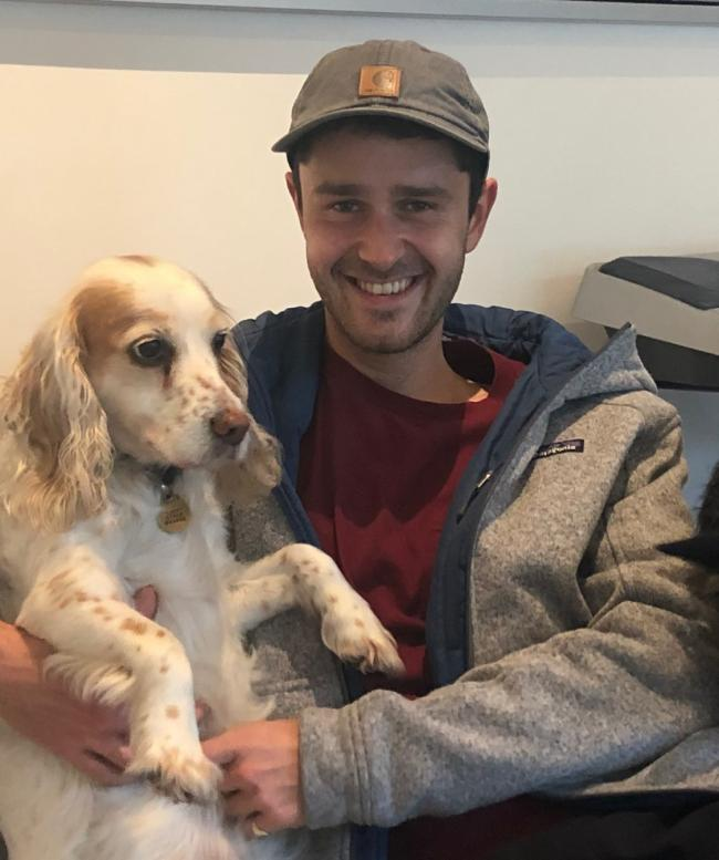 Dominic Bride with his family's 10-year-old working cocker spaniel Lucy