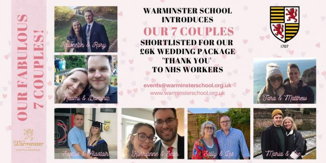 The seven couples shortlisted for the Warminster School wedding prize
