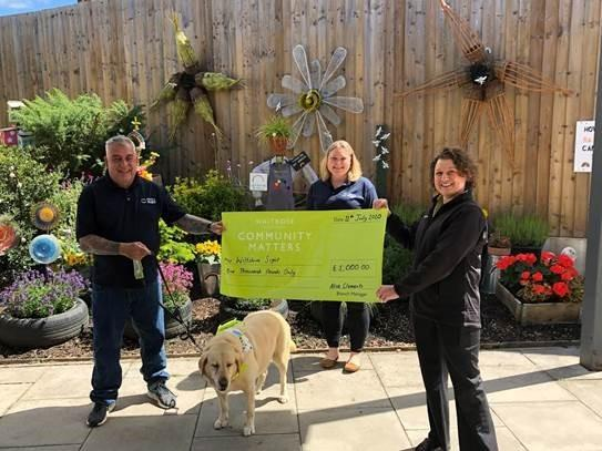 Alan Whetherly and Katie Endacott of Wiltshire Sight receive a £1,000 donation from Waitrose in Melksham