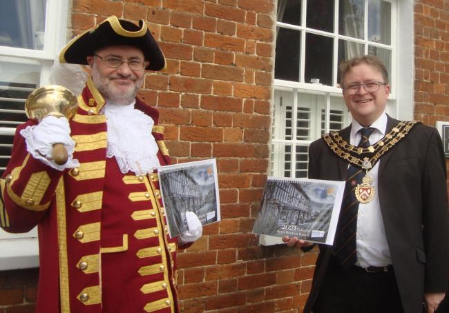 Town crier Owen Collier and mayor Nic Hughes