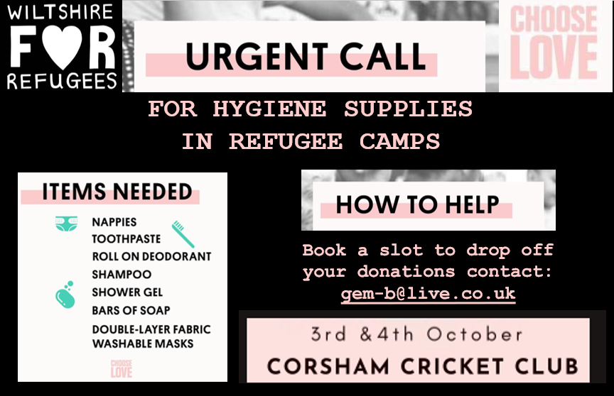 Wiltshire For Refugees Appeal for Hygiene Supplies in Refugee Camps