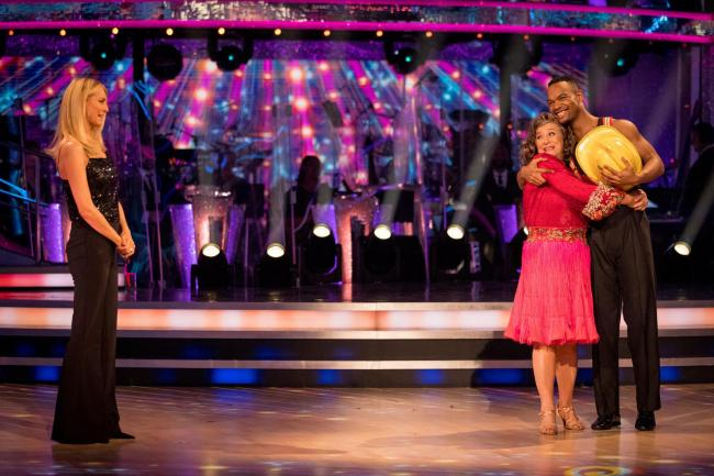For use in UK, Ireland or Benelux countries only ..BBC handout photo of Caroline Quentin with dance partner Johannes Radebe, watched by host Tess Daly,   after she became the latest celebrity to be voted off the BBC 1 dance programme, Strictly Come Dancin
