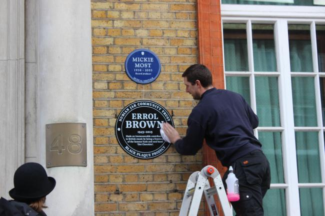 Errol Brown's black plaque outside the RAK Studios in St John's Wood