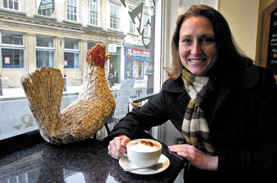 Reporter Charley Morgan enjoys a Fairtrade coffee at The Crowing Cock cafe in Trowbridge