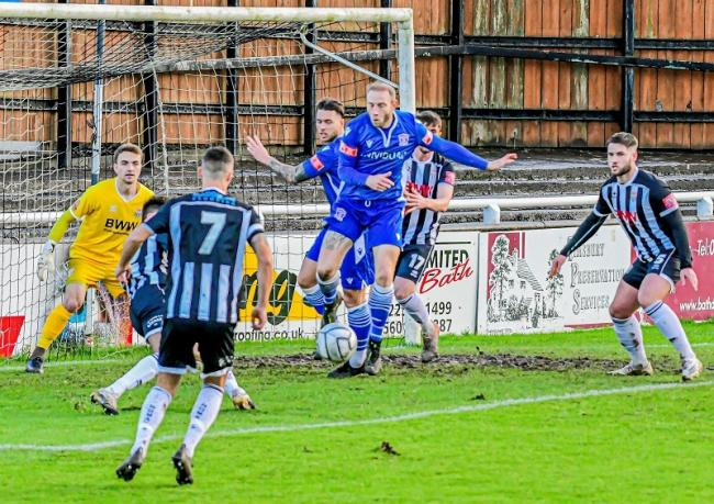 Action from Bath City v Swindon Supermarine in the FA Trophy 	    Photo: Steve Brennan