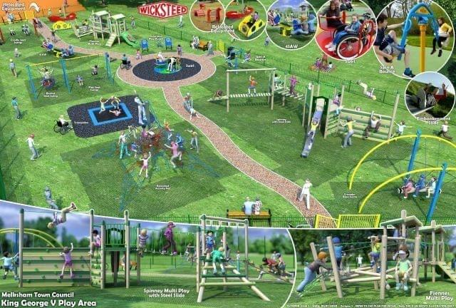 An artist's impression of the new-look King George V play area in Melksham