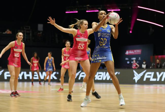 Team Bath's Layla Guscoth receives the ball in a Netball Superleague victory over London Pulse     Photo: Morgan Harlow