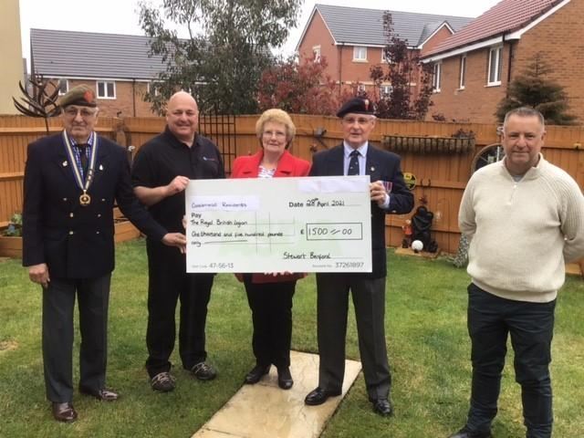 Thirsk Drive cheque presentation l-r: Captain Roy Zaman, Mike Rees, Jill Sherman, Bill Sherman and Stewart Benford