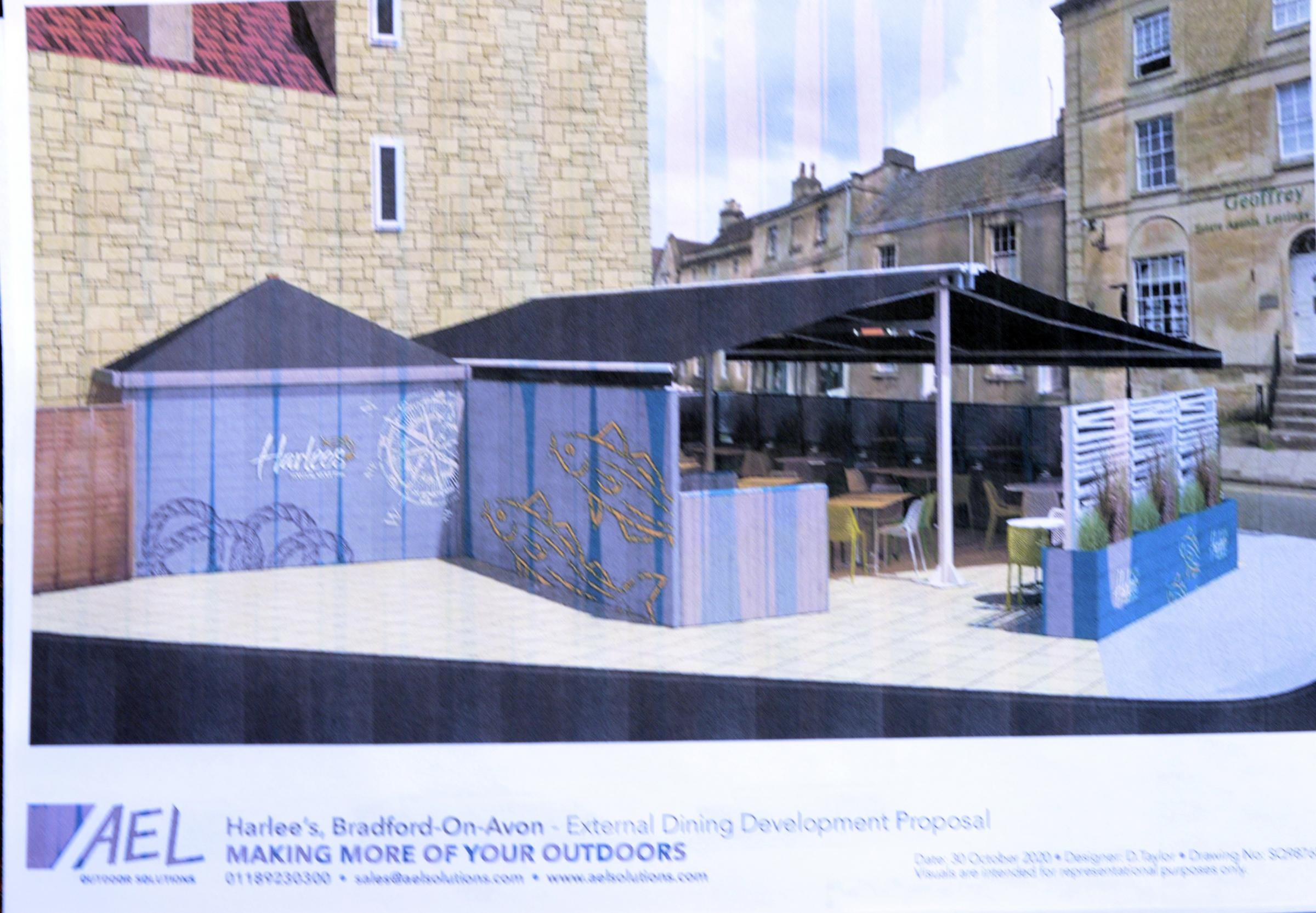 Opposition to Marquee on corner plot at Frome Rd BOA The artist impression of the marque the BOA fish and chip shop hope to get erected on a piece of land near the Frome Rd junction Station approach junction. Photo Trevor Porter67365 1
