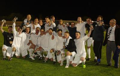 Calne Town celebrate last night's cup victory