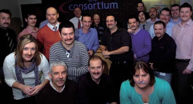 Mustachioed staff at The Consortium, Trowbridge