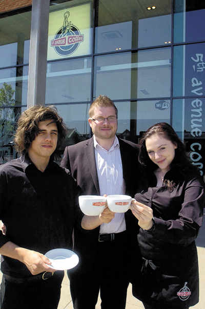 Manager Myles Bond, group manager Gavin Jones and staff member Gemma Morris of the new 5th Avenue coffee shop