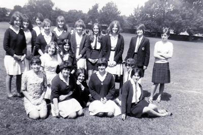 A group of schoolfriends pictured on July 14, 1967, on the school field, in a photo taken by Rosemary Brown