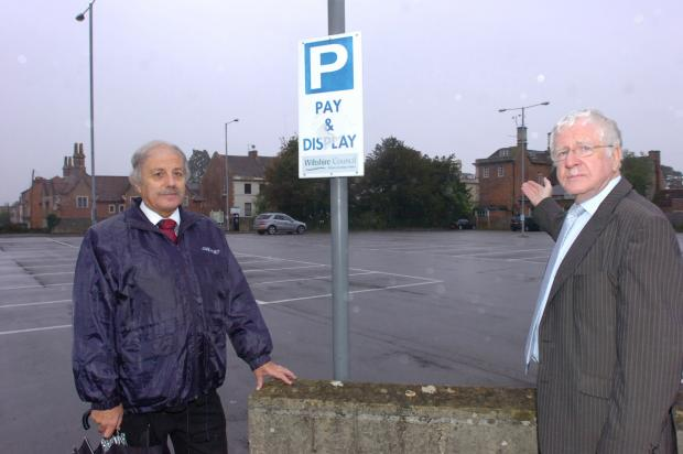Mike Williams, president of Wessex Chambers of Commerce, and David Baker, president of Trowbridge Chamber of Commerce, in a deserted Trowbridge car park