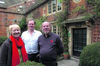 Francis Holmes, right, of J & T Beavan with Jenny Arkell from Bradford on Avon Museum and Nick Kirkham of The Glove Factory