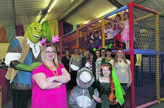 Vikki McIntyre at the new Splodges children's activity centre in Westbury, with friends, staff and children