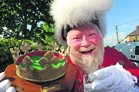 Trowbridge crier Trevor Heeks with his crown