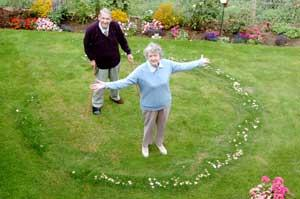 Left, Sue and Tom Gaylard of Staverton with the fairy ring' in their garden.