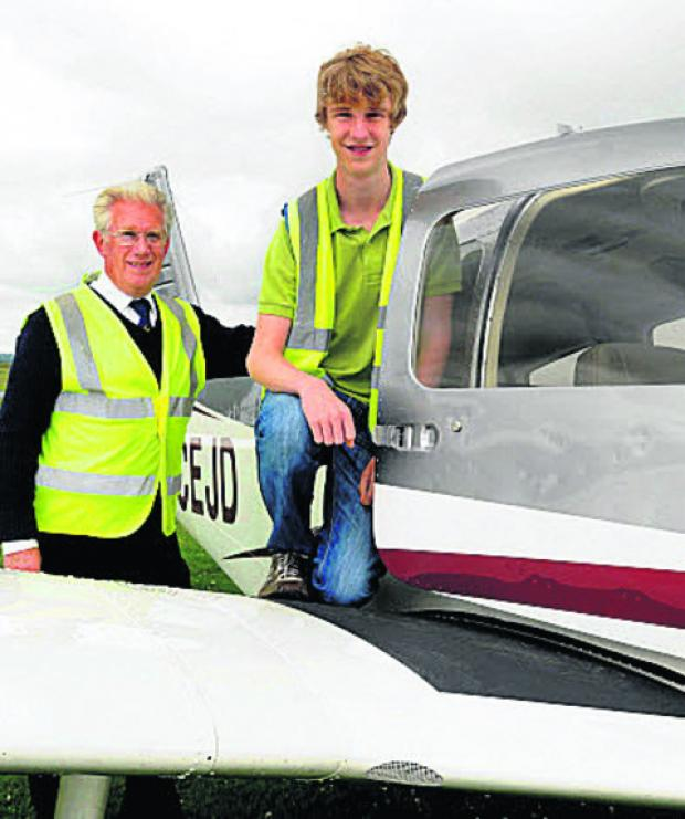 Robert Ellis, 16, with his instructor, Dom Atkinson
