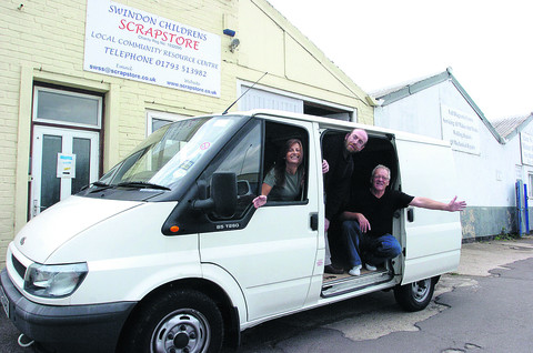 Swindon Children's Scrapstore celebrating the new van they got from Gannett