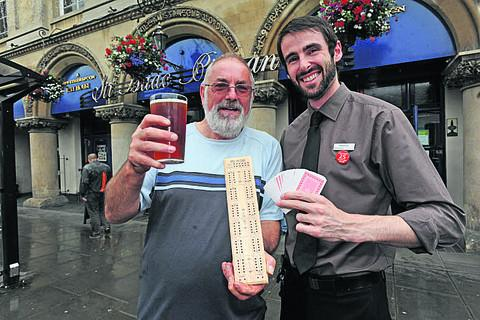Brian Hinton with Weatherspoons manager Kenny Knox